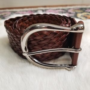 Michael Kors Brown Braided Leather Belt